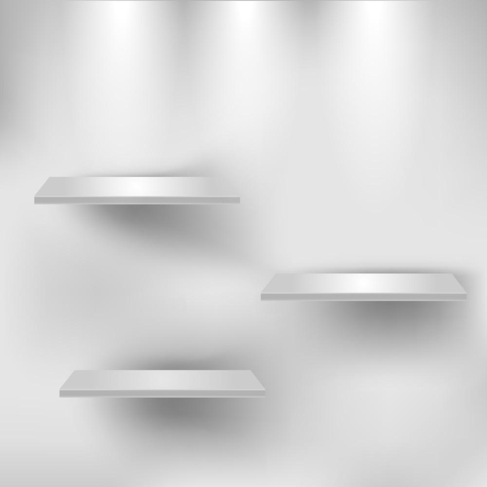 Three Empty White Shelves