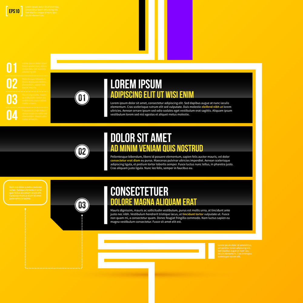 Three Horizontal Banners On Bright Yellow Background In Modern Corporate Style. Eps10