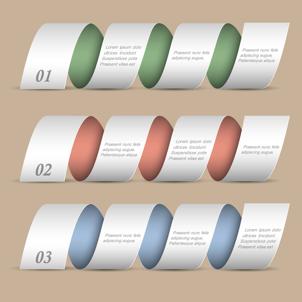 Three Modern Numbered Ribbons-banners