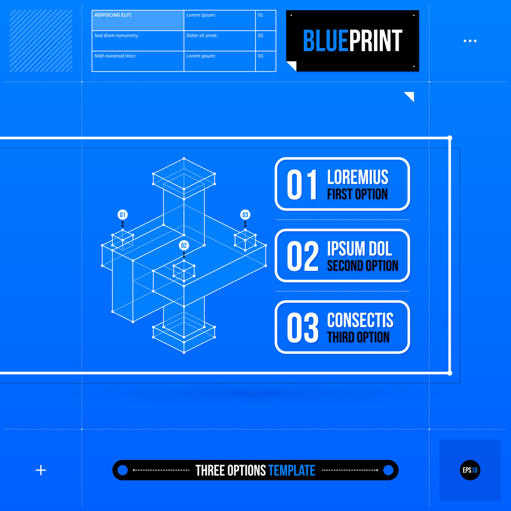 Three Options Template With Abstract 3d Element In Blueprint Style. Eps10