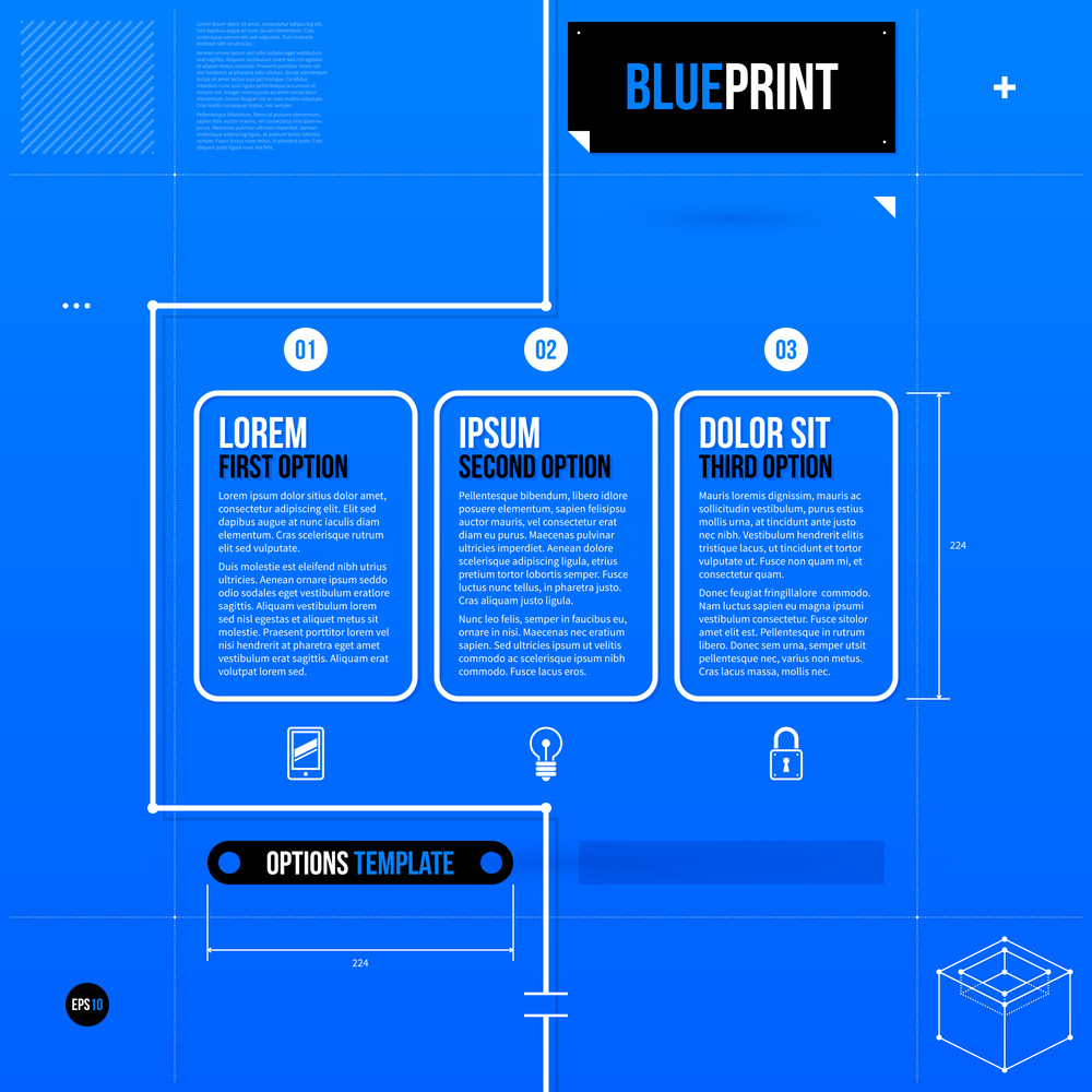 Three Rectangle Options In Blueprint Style. Eps10