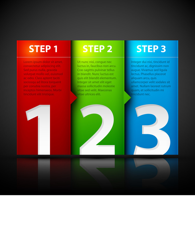 Three Steps. Useful For Tutorials Or Instructions.