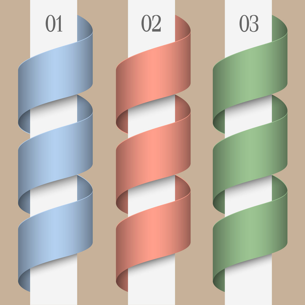 Three Vector Numbered Ribbons-banners