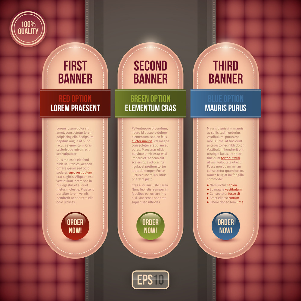Three Vertical Banners/options For Advertising Or Web Design. Eps10.