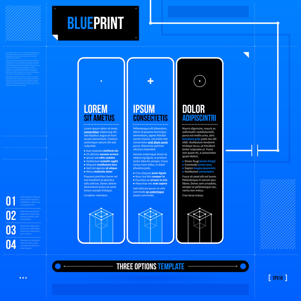Three Vertical Banners/options In Blueprint Style. Eps10
