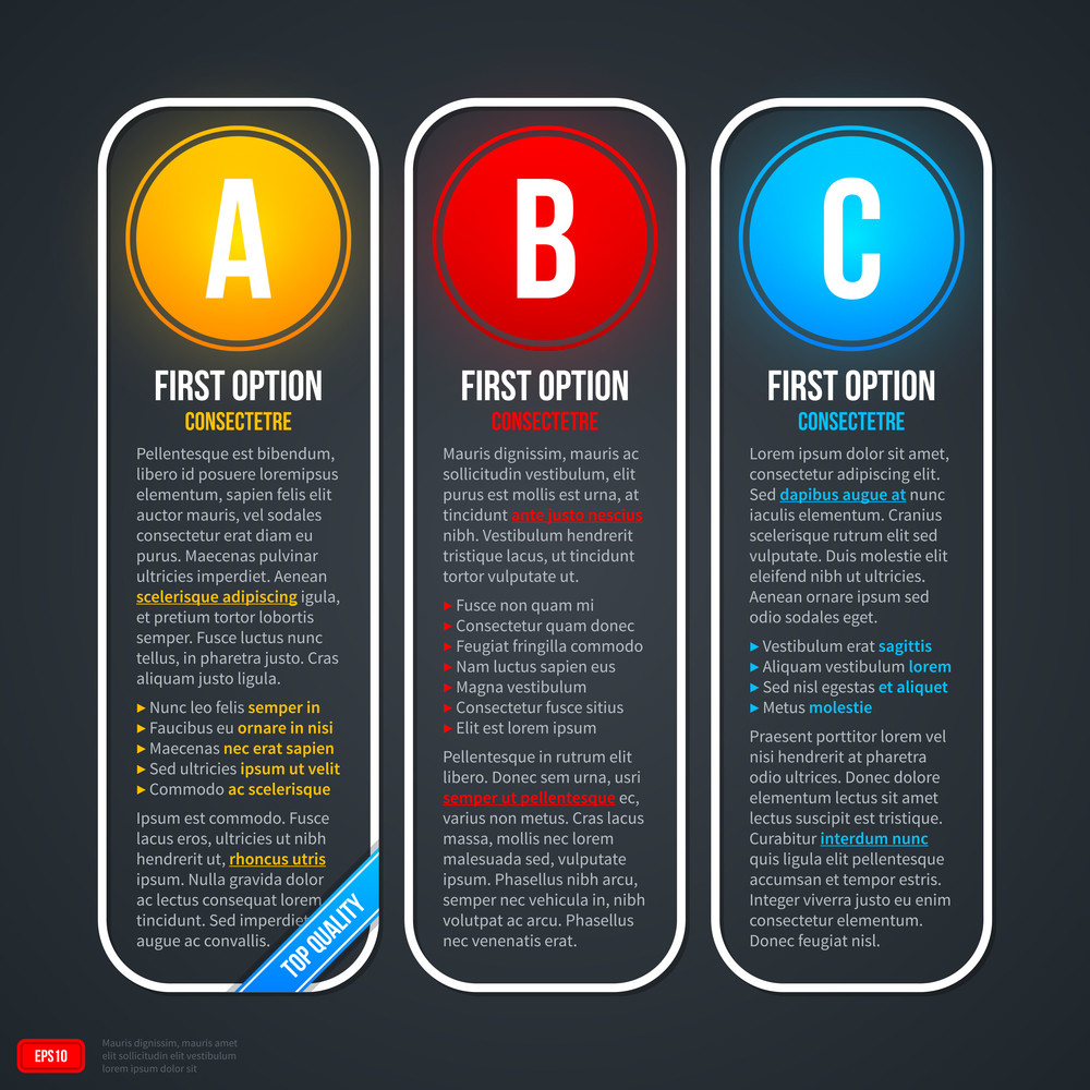 Three Vertical Banners With Three Different Options. Eps10.