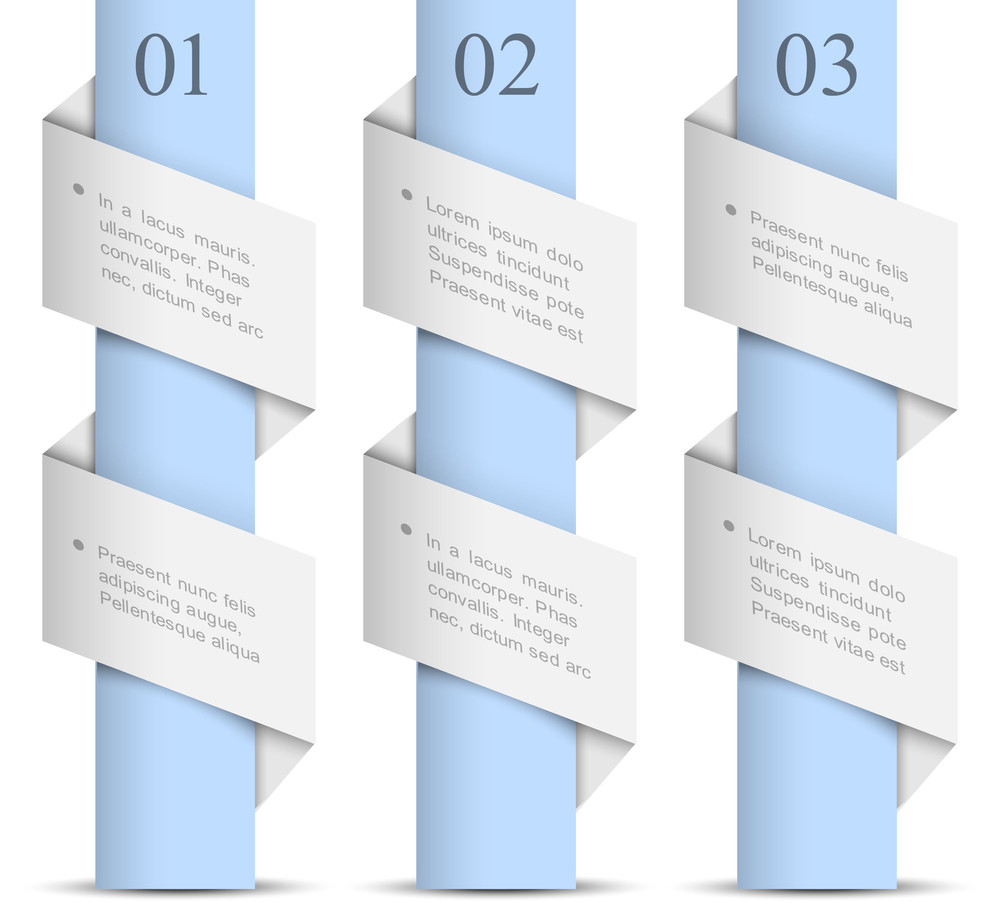 Three Vertical Origami Paper Numbered Banners