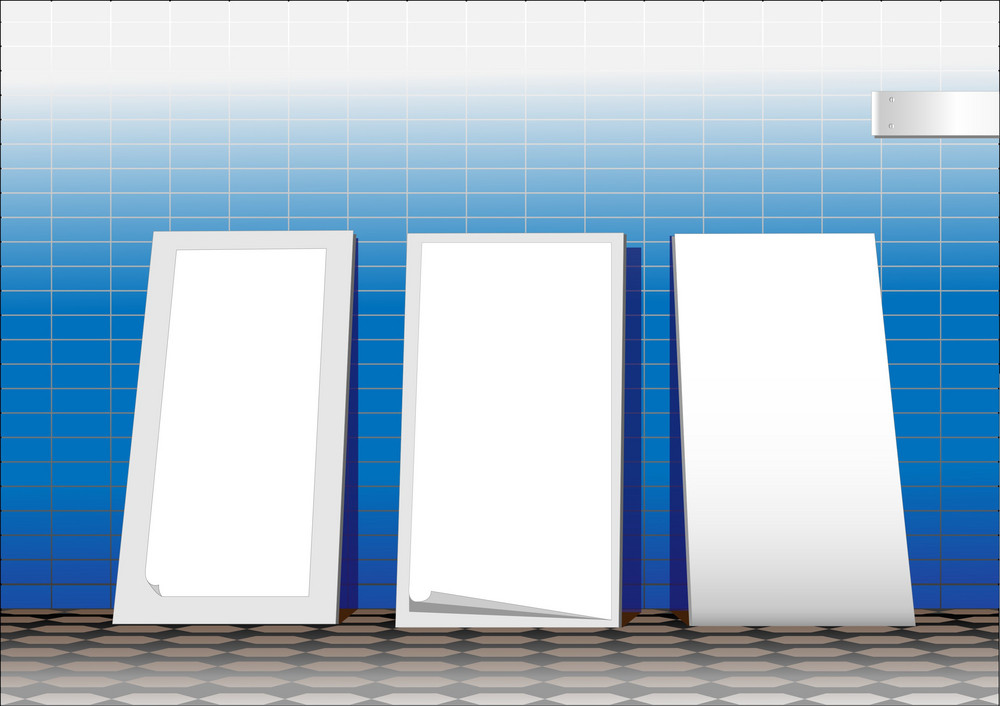 Three White Advertising Stands.