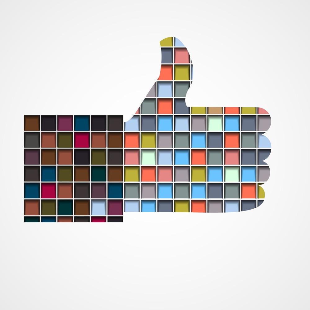 Thumb Up - Like Made Of Colorful Blocks