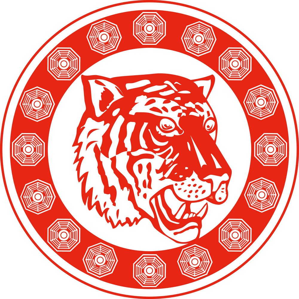 Tiger Head Facing Front Decorative Circular Border