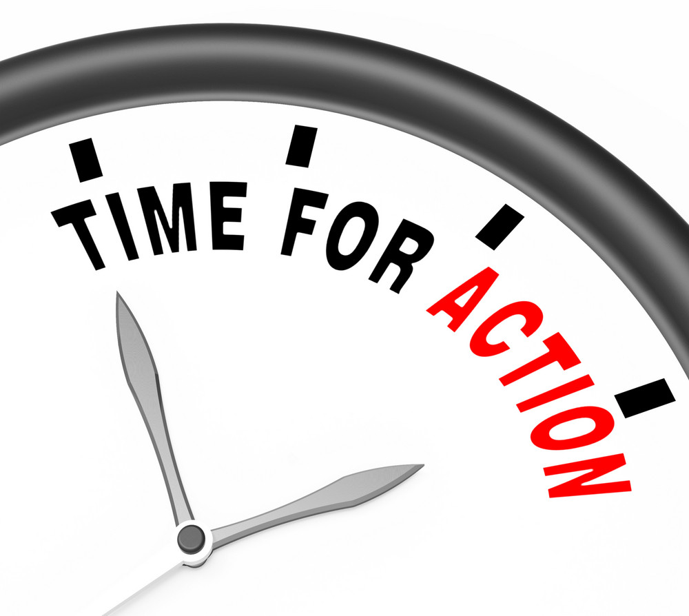 Time For Action Clock To Inspire And Motivate