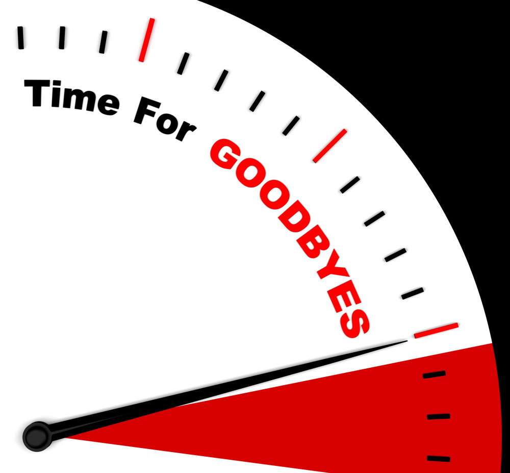 Time For Goodbyes Message Shows Farewell Or Bye