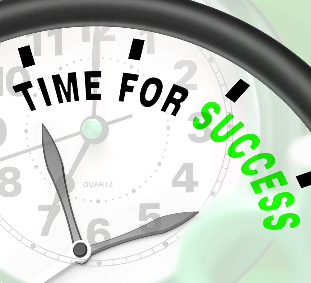 Time For Success Message Shows Victory And Winning