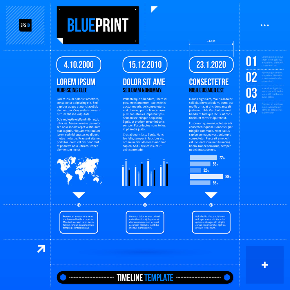 Timeline Template With Some Infographic Elements In Blueprint Style. Eps10