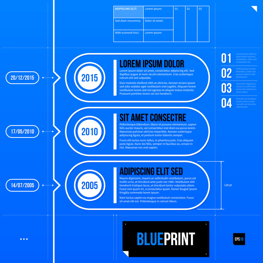 Timeline Template With Three Banners In Blueprint Style. Eps10
