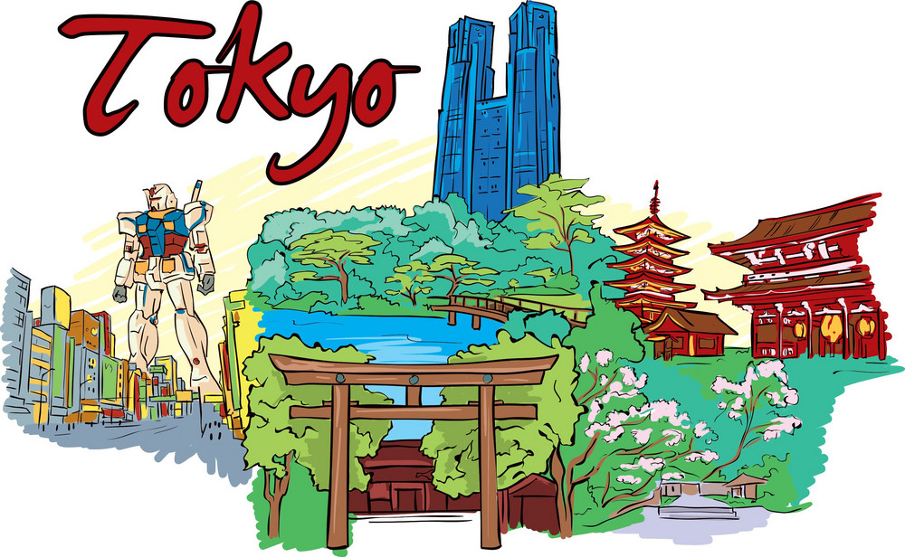 Tokyo Vector Doodle