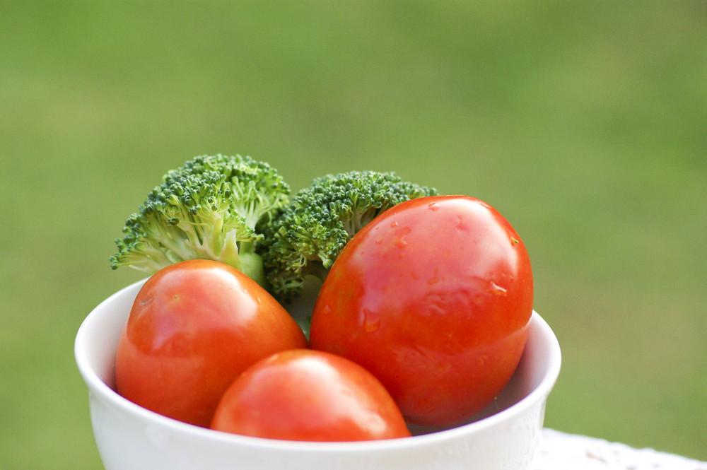 Tomato and Broccoli  in white bowl