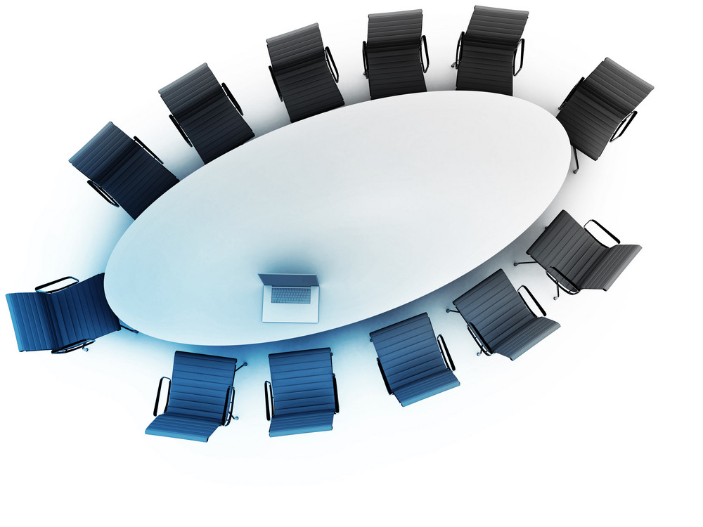 Vista superior de uma tabela para reunião com espaço de cópia