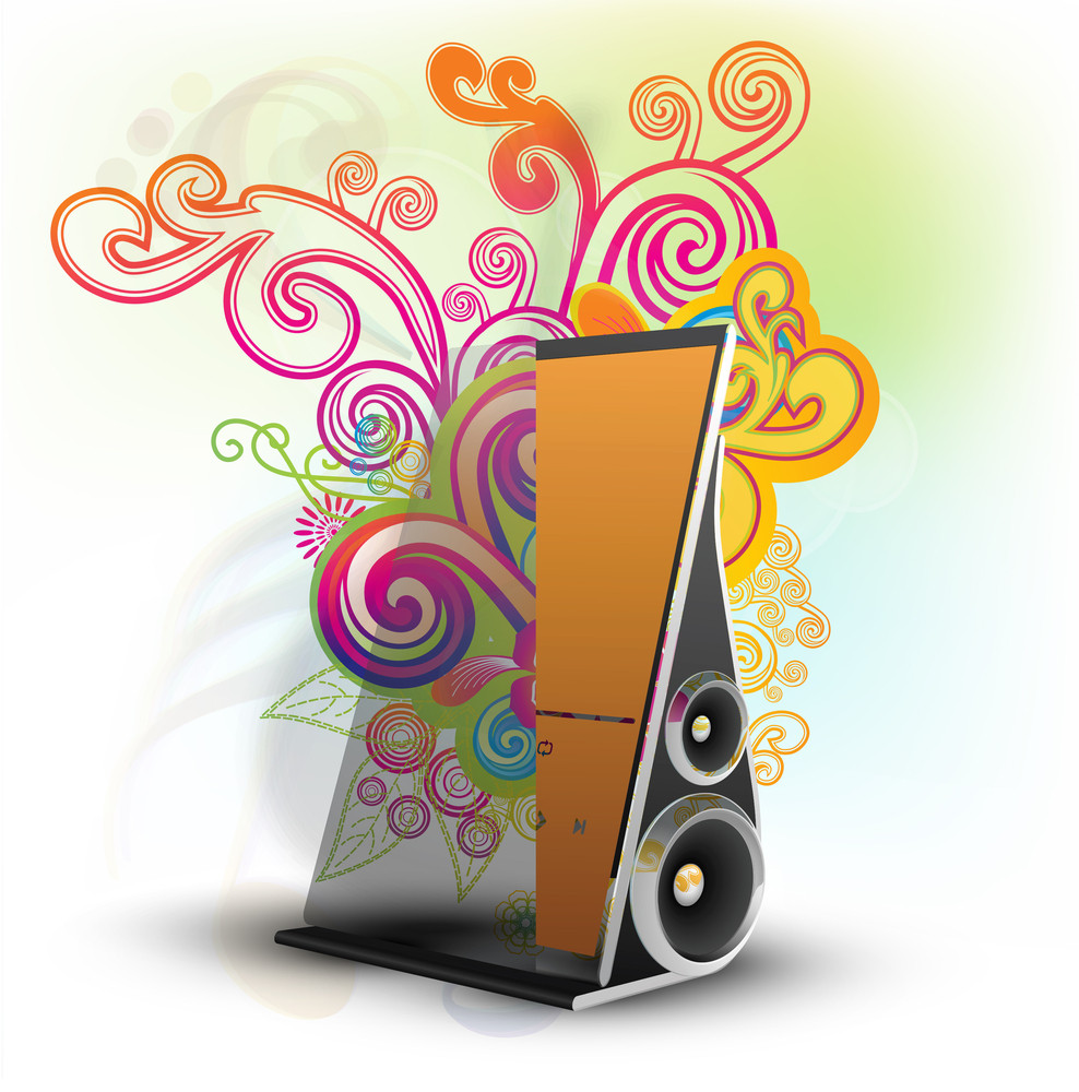 Touch Screen Music Player Or Device Or Tablet With Speaker Placed On Docking Station