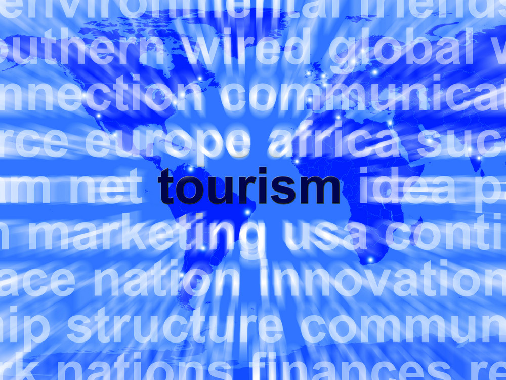 Tourism Word Showing International Travel And The Signtseeing Industry