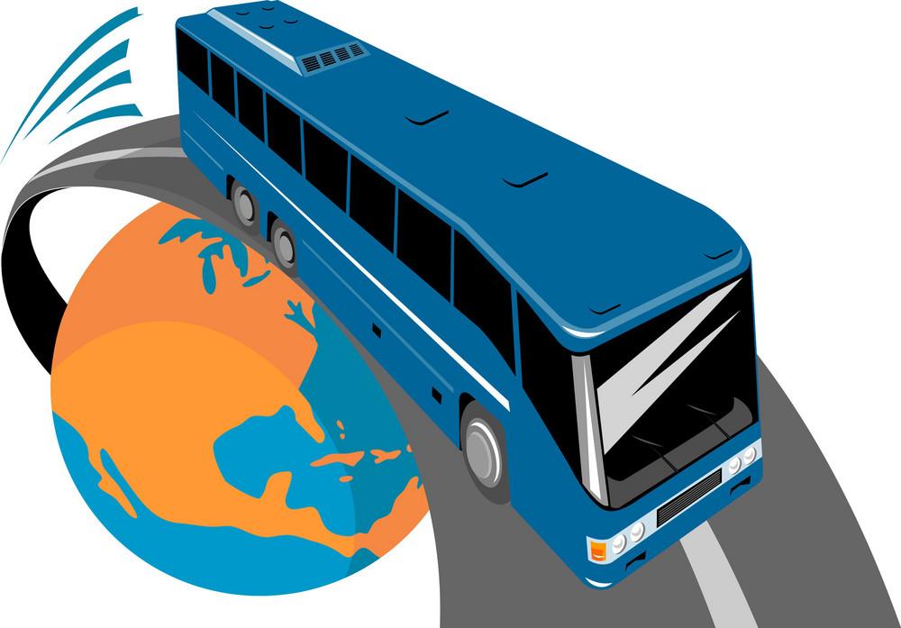 Tourist Coach Bus Globe
