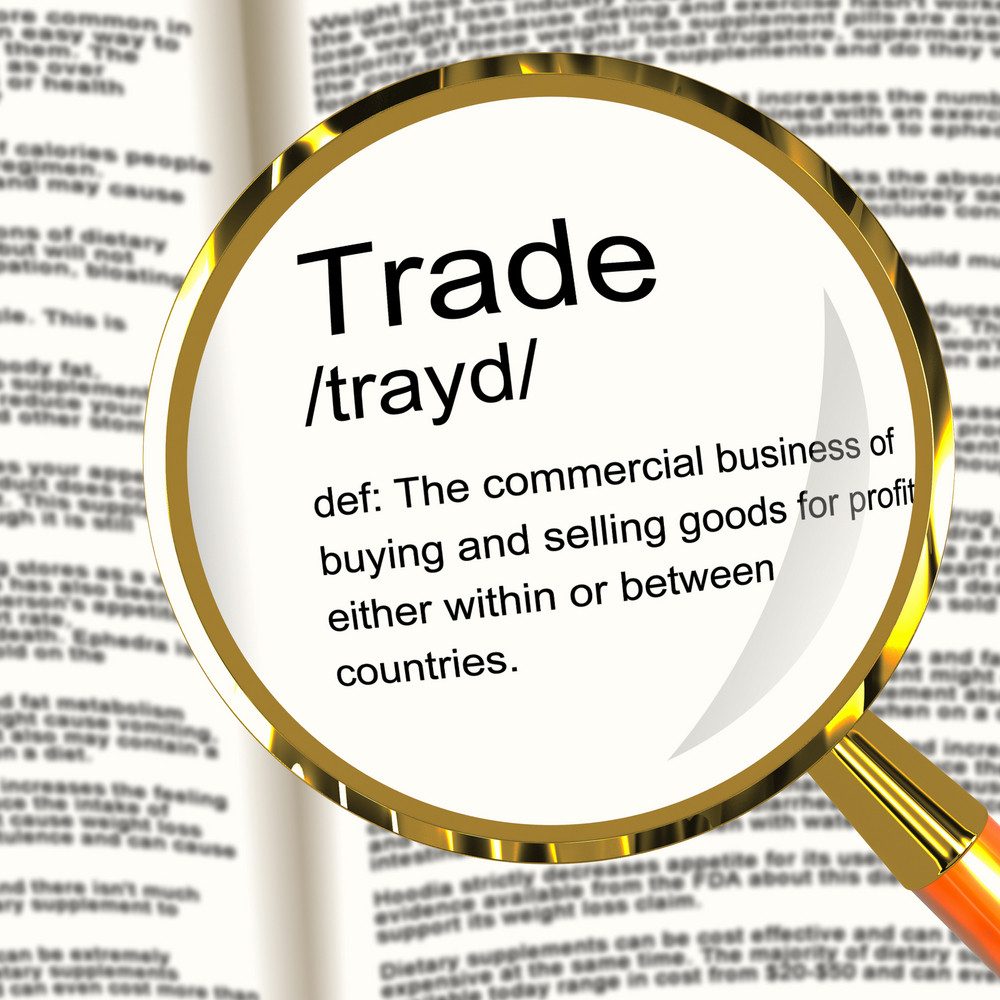 Trade Definition Magnifier Showing Import And Export Of Goods