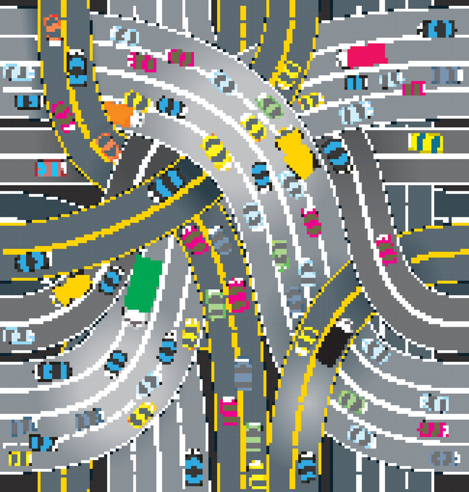 Traffic. Seamless Vector Background.
