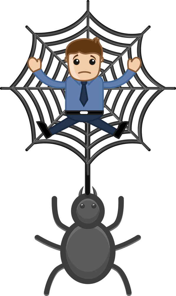 Trapped In Spider Web - Business Cartoon Characters