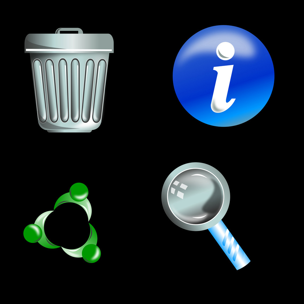 Trash Can Info Icon Magnifying Glass