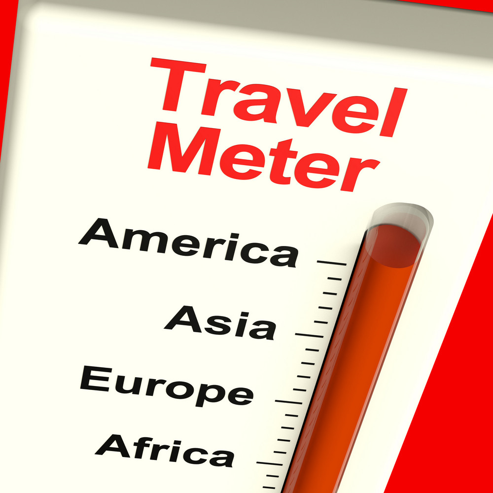 Travel Meter Showing America Asia And Europe