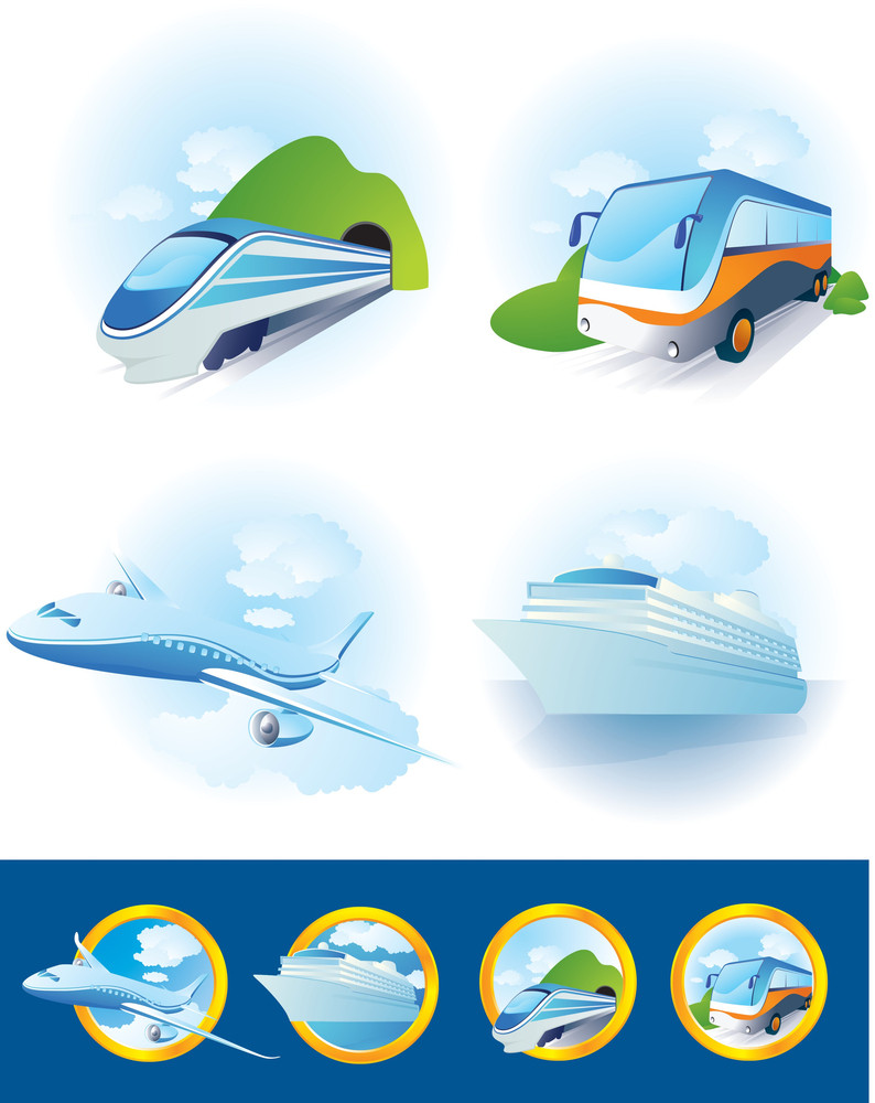 Travel Transportation Icon Set. Vector.