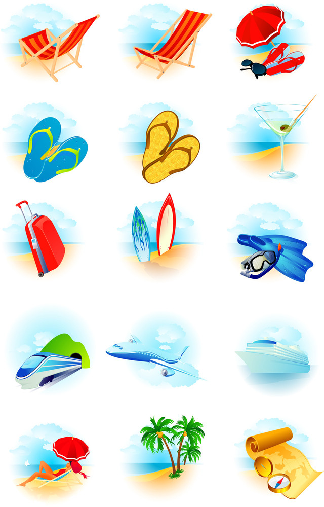 Travel Vector Icons Set.