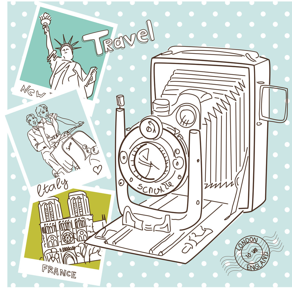 Travel With Your Vintage Camera. Snapshots Of Different Countries And Old Camera On A Polka Dot Background