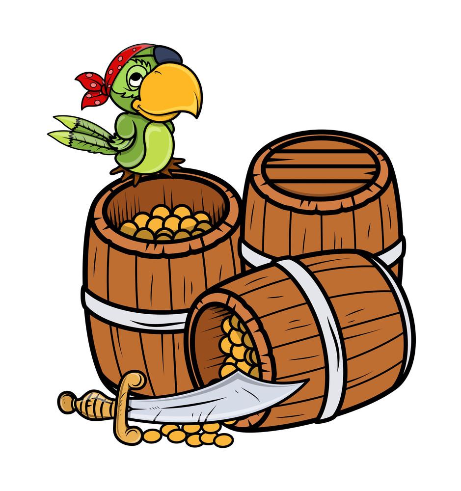 Treasure And Pirate Parrot - Vector Cartoon Illustration