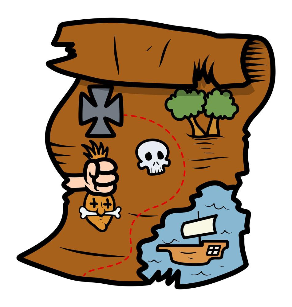 Treasure Map - Vector Cartoon Illustration