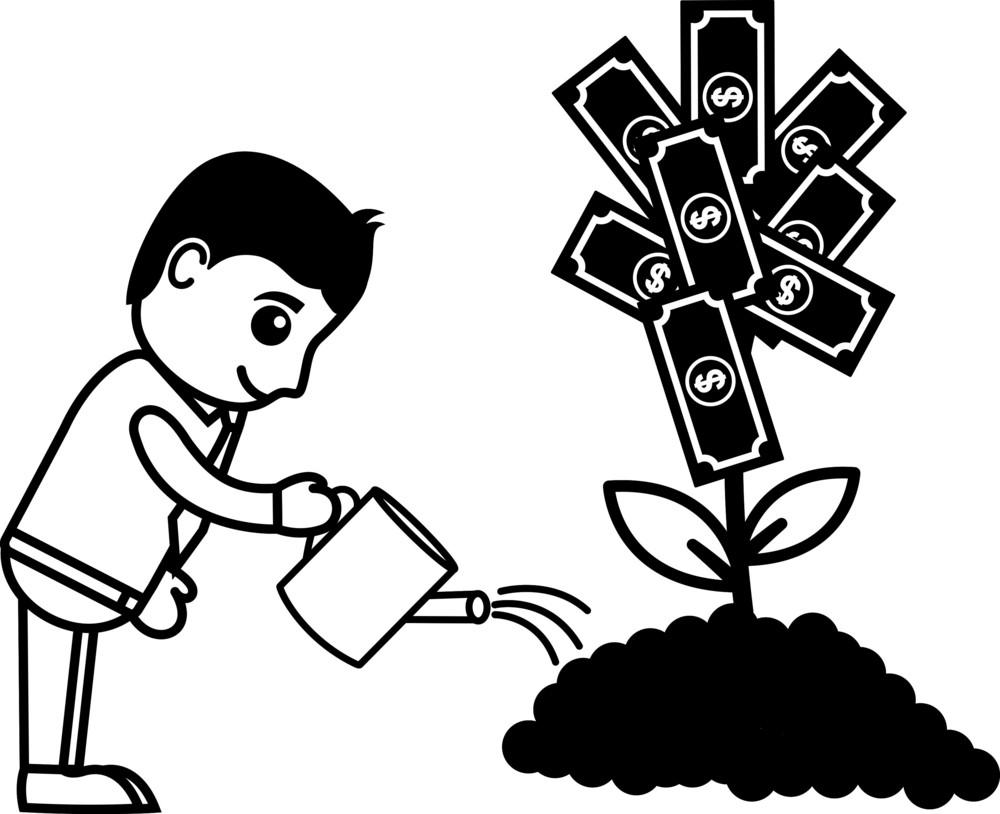 Tree Of Money Cartoon Concept - Vector Illustration