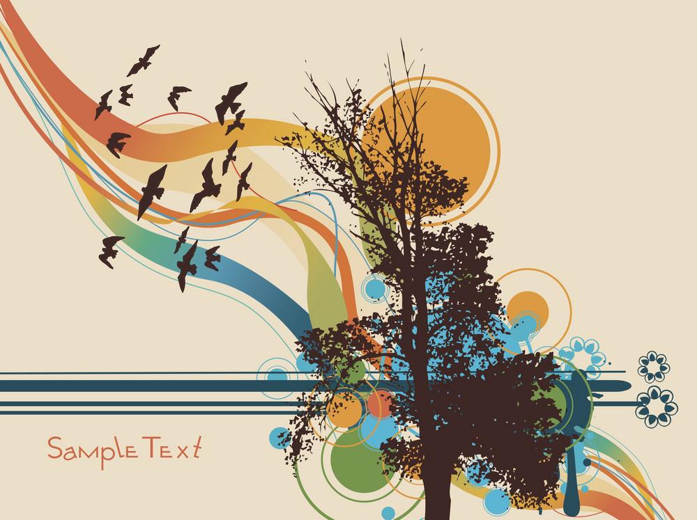 Tree On Summer Background Vector Illustration