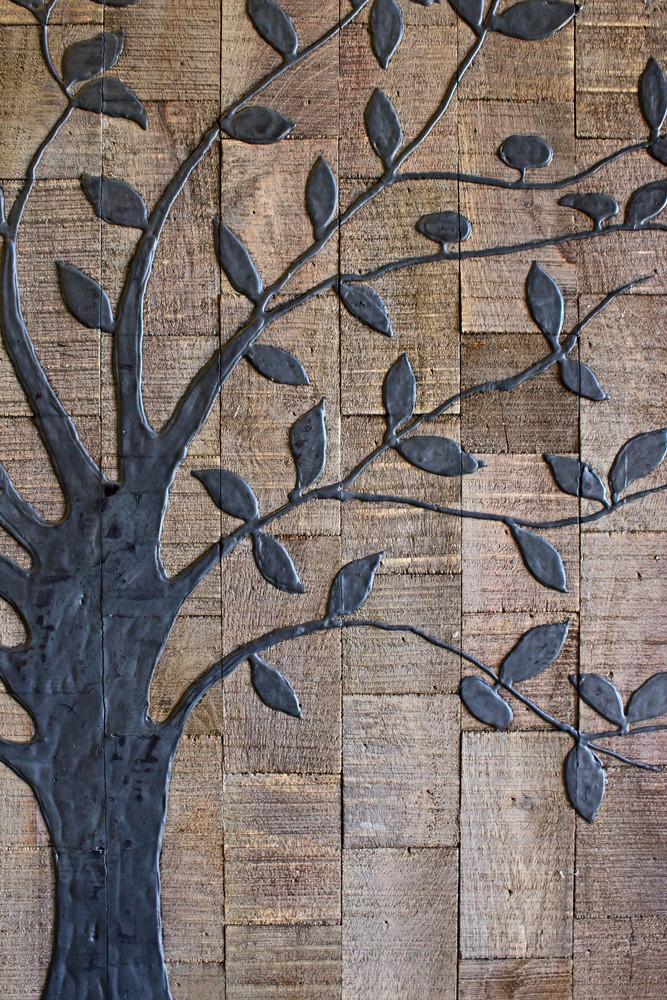 Tree Shape On Grunge Wood Plank