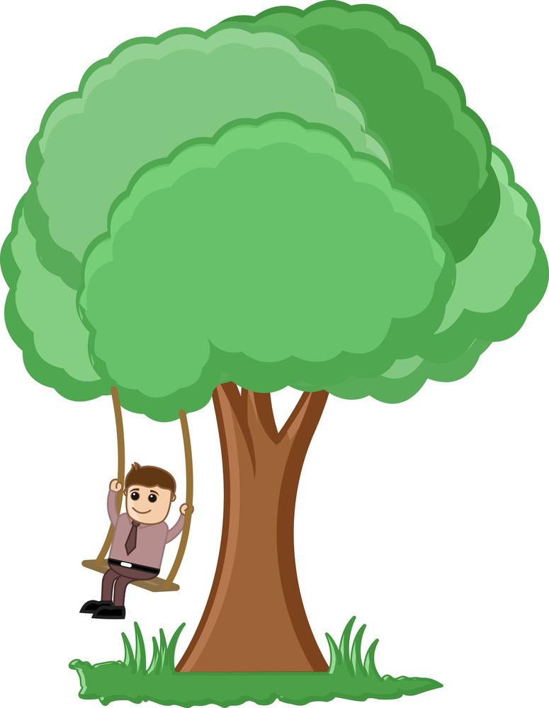 Tree Swing Cartoon Vector
