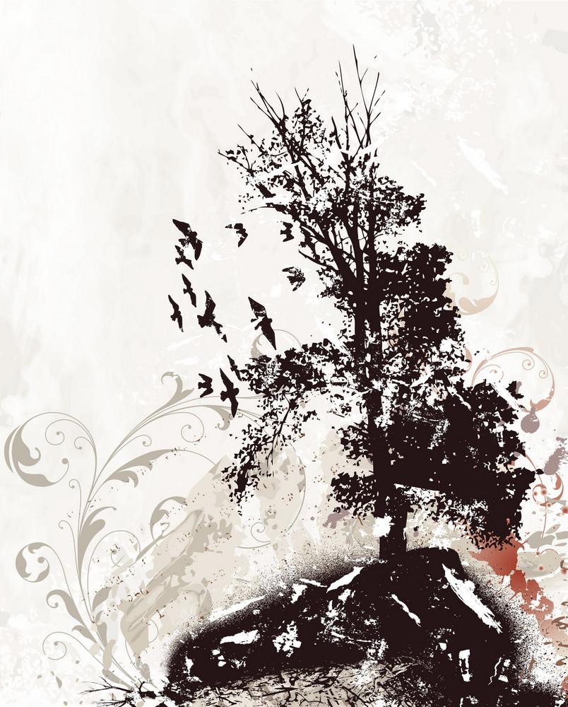 Tree With Birds Vector Illustration