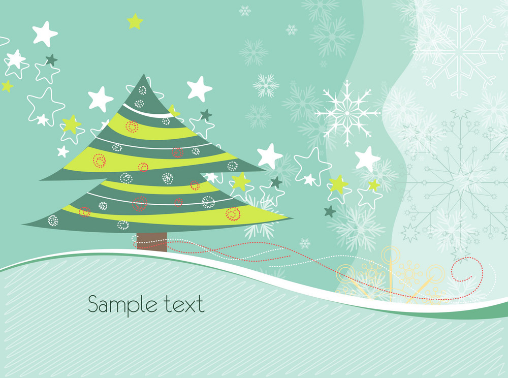 Tree With Snowflakes Vector Illustration