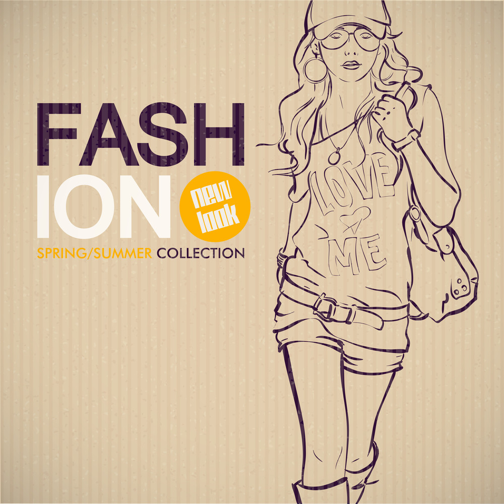 Trendy Girl Sketch On Cardboard Paper. Vector Collection.