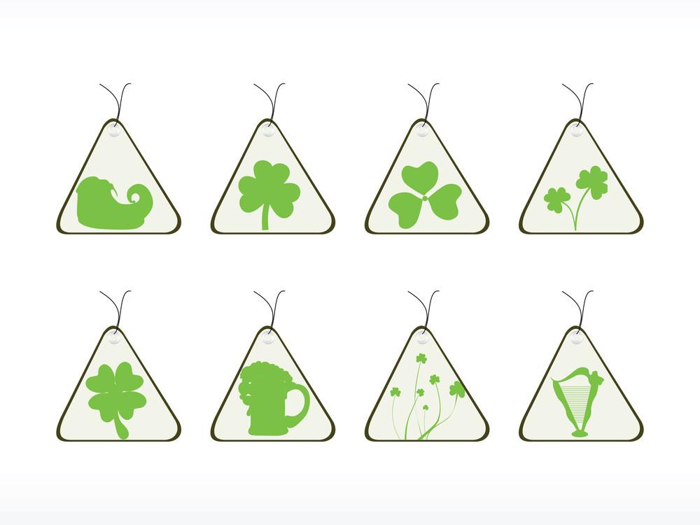Triangle Shape Patrick's Day Tags