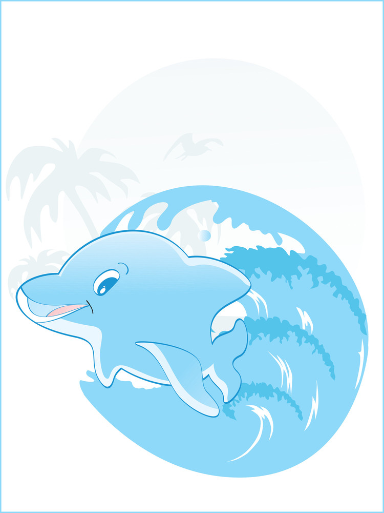 Tropical Background With Dolphin