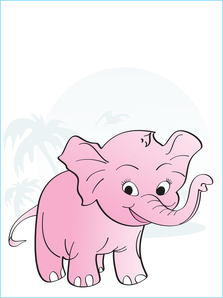 Tropical Background With Elephant