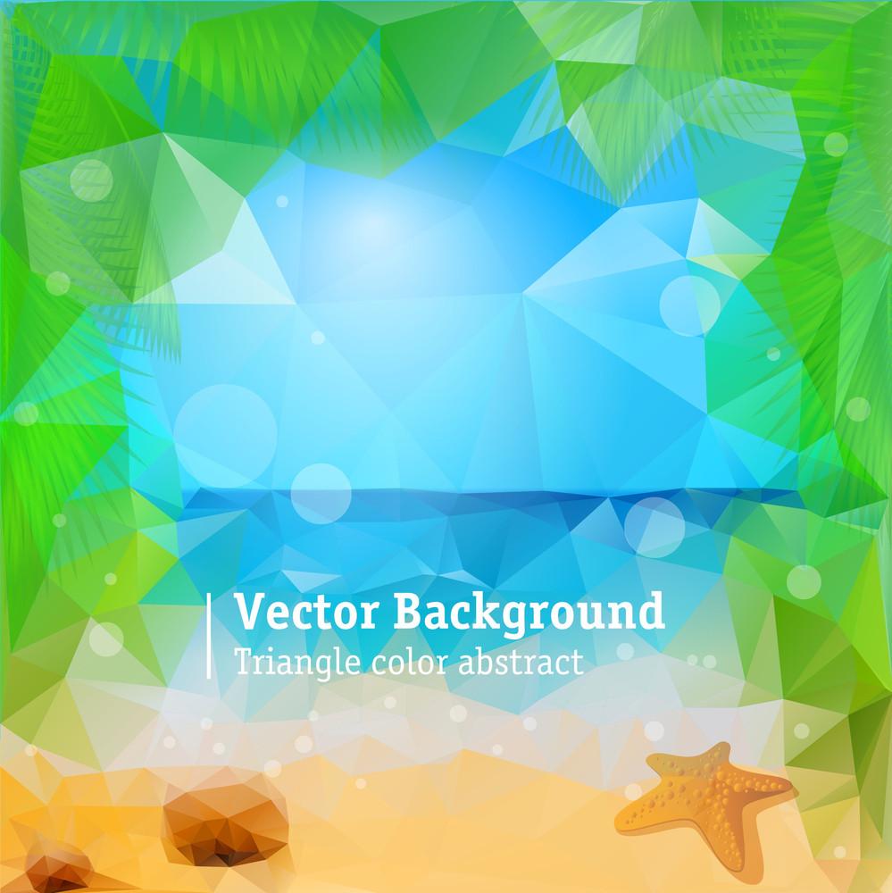 Tropical Beach. Vector Background.