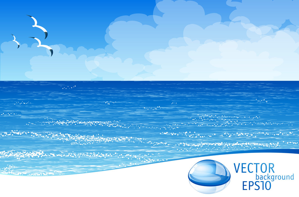 Tropical Beach. Vector Background