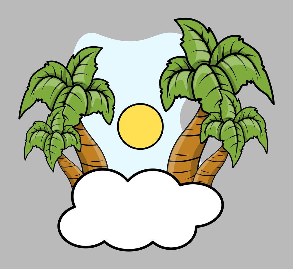 Tropical Island Over Cloud - Vector Cartoon Illustration