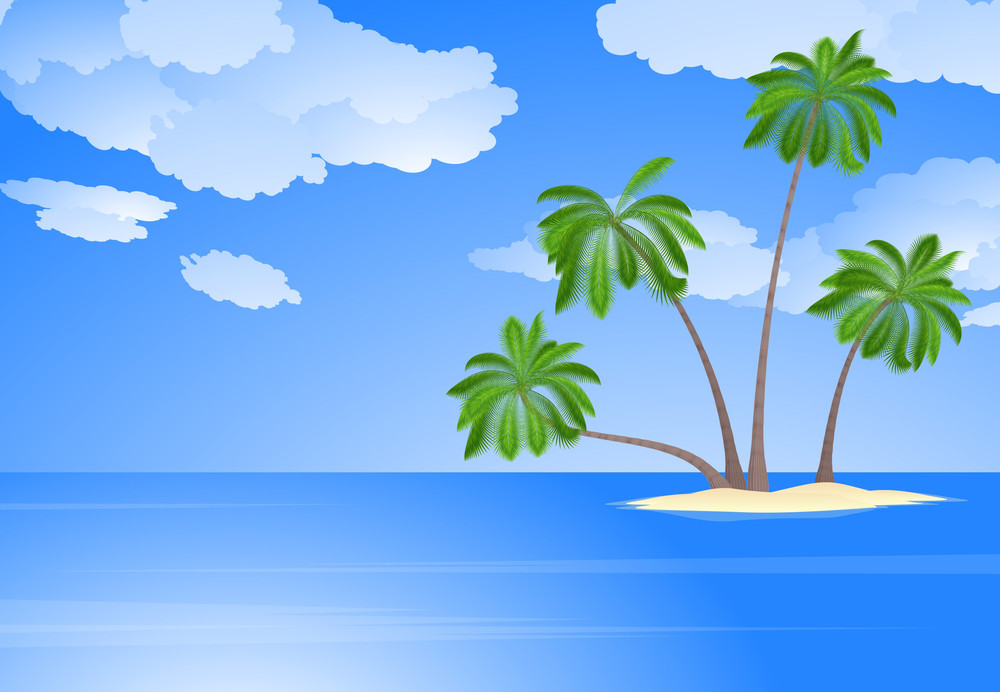 Tropical Island With Coconut Palm Trees. Vector.