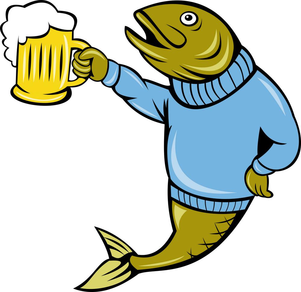Trout Fish Holding A Beer Mug